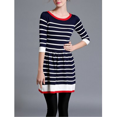 Striped Knitted Flare Dress