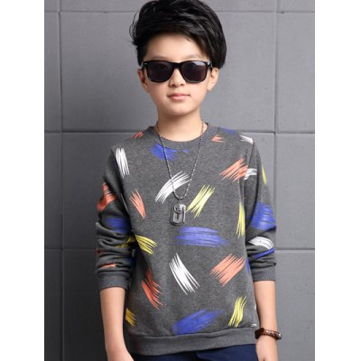 Feather Print Long Sleeve Crew Neck T Shirt