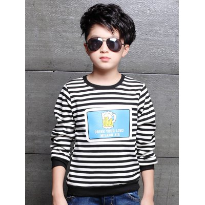 Applique Long Sleeve Striped T Shirt