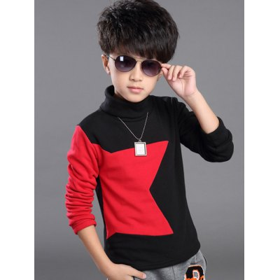 Turtle Neck Star Pattern T Shirt