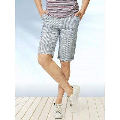 Zipper Fly Vertical Stripe Print Straight Leg Shorts