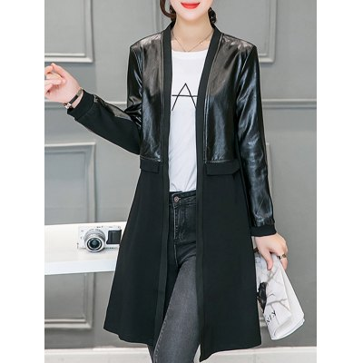 Leather Pannel Long Collarless Coat