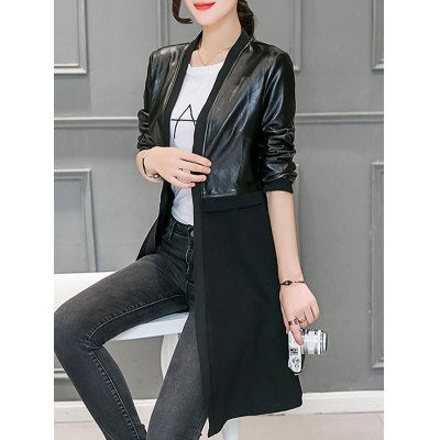 Leather Panel Long Collarless CoatJackets &amp; Coats<br>Leather Panel Long Collarless Coat<br><br>Clothes Type: Jackets<br>Material: Cotton,Faux Leather,Polyester<br>Type: Slim<br>Clothing Length: Long<br>Sleeve Length: Full<br>Collar: Collarless<br>Pattern Type: Solid<br>Embellishment: Spliced<br>Style: Fashion<br>Season: Fall,Spring,Winter<br>With Belt: No<br>Weight: 0.670kg<br>Package Contents: 1 x Coat
