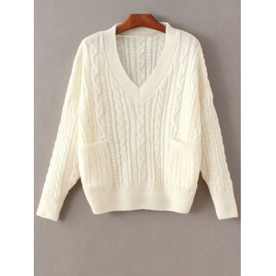 Cable Knit Double Pocket Sweater