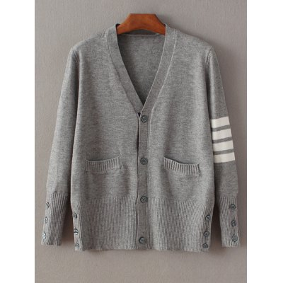 Buttoned Stripe Fitting Cardigan