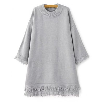 High-Low Fringe Loose Sweater