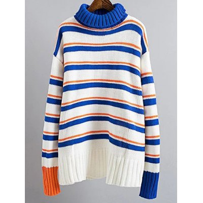 Turtle Neck Pullover Striped Sweater