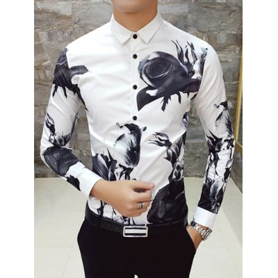 Slim Fit Printed Long Sleeve Shirt