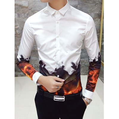 Flame Print Slim Long Sleeve Shirt