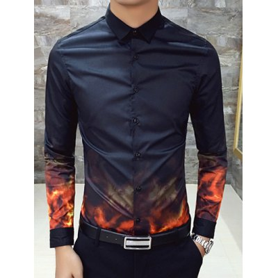 Printed Long Sleeve Slim Fit Shirt