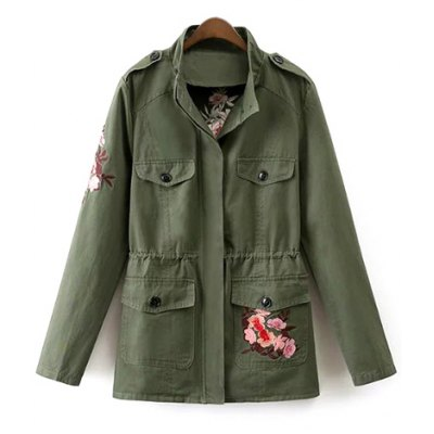 Stand Neck Tiger Embroidered Military Jacket