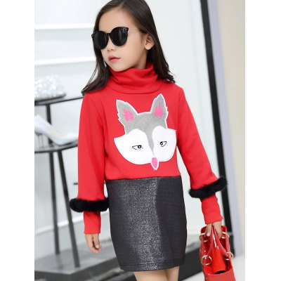 Girls Long Sleeve Fox Print Mini Dress