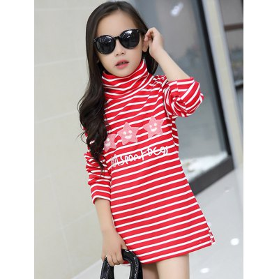 Casual Girls Long Sleeve Striped Mini Dress