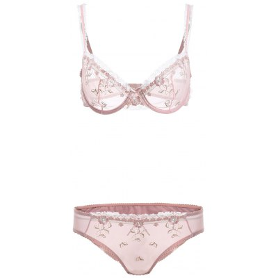 Lace Splicing See-Through Bowknot Bra Set