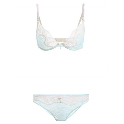 Lace See-Through Bowknot Bra Set