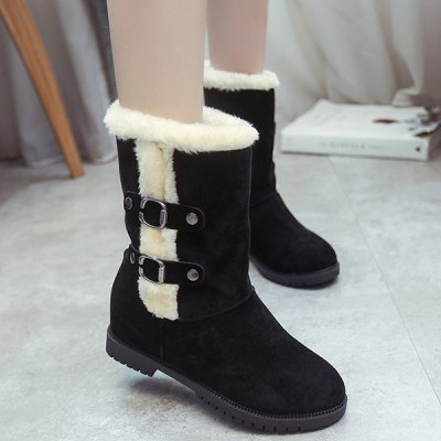 Buckle Suede Mid-Calf Boots
