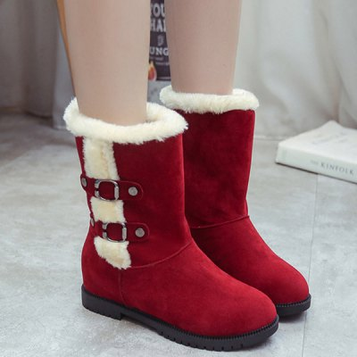 Buckle Suede Hidden Wedge Mid-Calf Boots