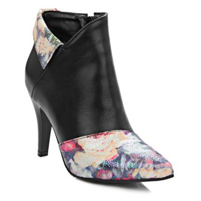 Floral Print Pointed Toe Ankle Boots