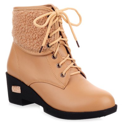 Faux Shearling Wedge Heel Boots