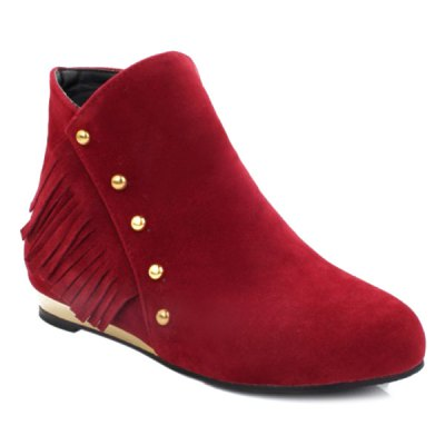 Zipper Dome Stud Ankle Boots