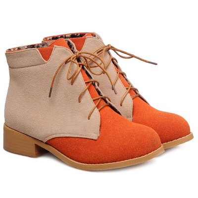 Suede Color Block Boots
