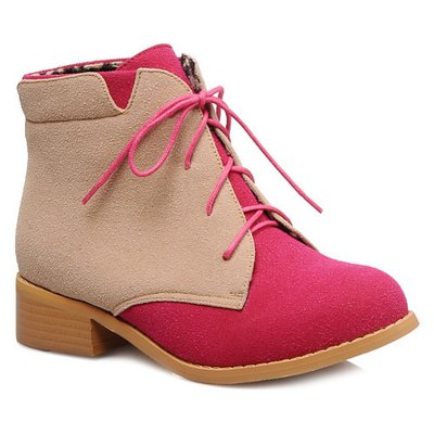 Suede Color Block Lace-Up Boots