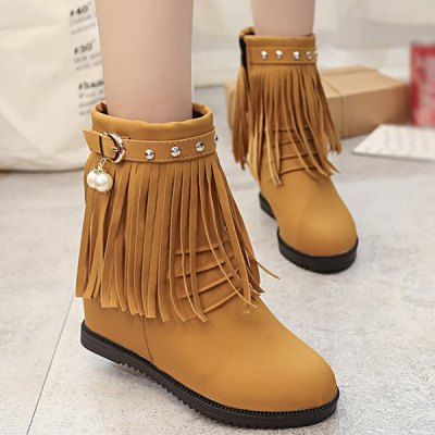 Fringe Hidden Wedge Boots