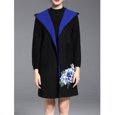 Embroidered Hooded Open Front Coat
