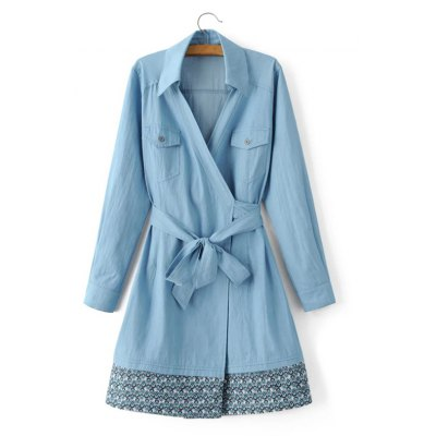 Print Chambray Wrap Jacket
