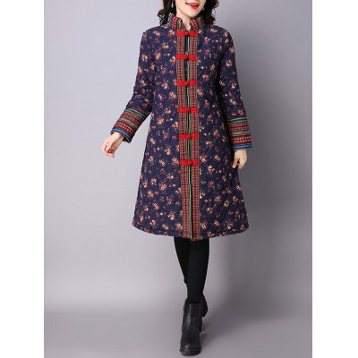 Flower Print Frog Button Padded Coat