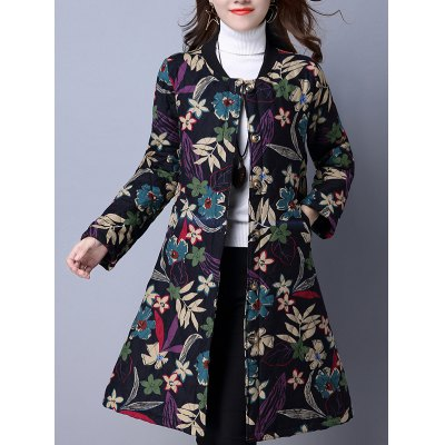 Flower Print Buttoned Padded Coat