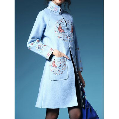 Frog Button Embroidered Walker Coat