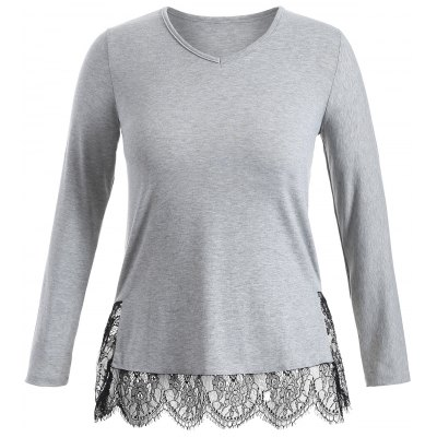Long Sleeve Lace Panel Plus Size Tee