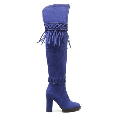 Chunky Heel Fringe Criss-Cross Thigh Boots