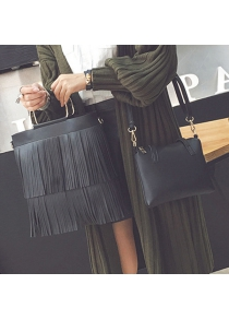 PU Leather Multilayer Fringe Metal Tote Bag