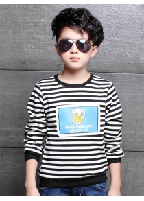 Round Collar Long Sleeve Striped T Shirt