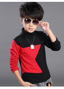 Turtle Neck Star Pattern Long Sleeve T Shirt