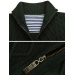 cheap Stand Collar Zip-Up Cable Knitted Cardigan
