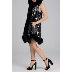 Hooded Sleeveless A Line Fur Coat for sale