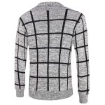 cheap Grid Pattern Heathered Button Up Cardigan