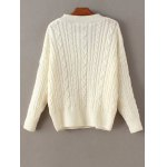 cheap Cable Knit Double Pocket V Neck Sweater