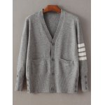 Buttoned Striped Fitting Cardigan