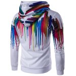 cheap Long Sleeve Paint Dripping Printed Zippered Hoodie