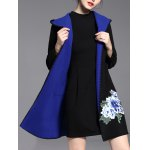 cheap Embroidered Hooded Open Front Coat