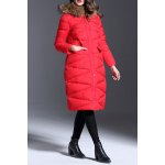 Hooded Faux Fur Collar Down Coat deal