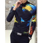 cheap Long Sleeve Slim Fit Printed Shirt