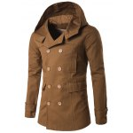 Double Breasted Spliced Hooded Wind Coat