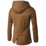 cheap Double Breasted Spliced Hooded Wind Coat