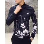 cheap Slim Fit Print Casual Shirt