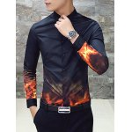 cheap Flame Print Slim Long Sleeve Shirt